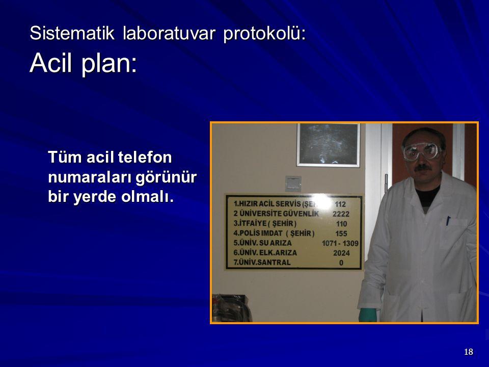 Sistematik laboratuvar protokolü: Acil plan: