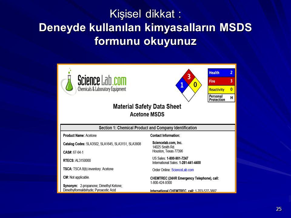 Kişisel dikkat : Deneyde kullanılan kimyasalların MSDS formunu okuyunuz