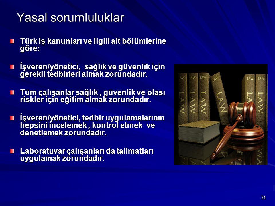 Yasal sorumluluklar Türk iş kanunları ve ilgili alt bölümlerine göre:
