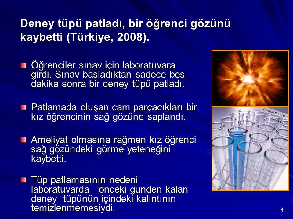 Deney tüpü patladı, bir öğrenci gözünü kaybetti (Türkiye, 2008).