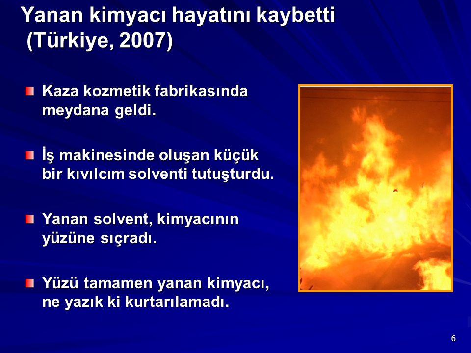 Yanan kimyacı hayatını kaybetti (Türkiye, 2007)