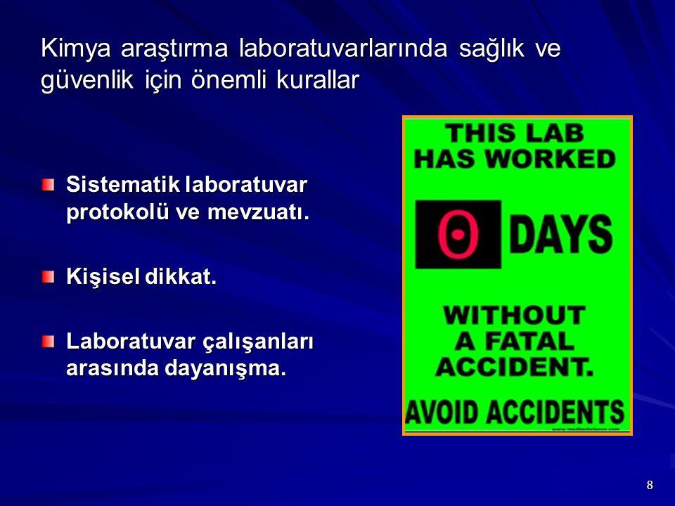 Kimya araştırma laboratuvarlarında sağlık ve güvenlik için önemli kurallar