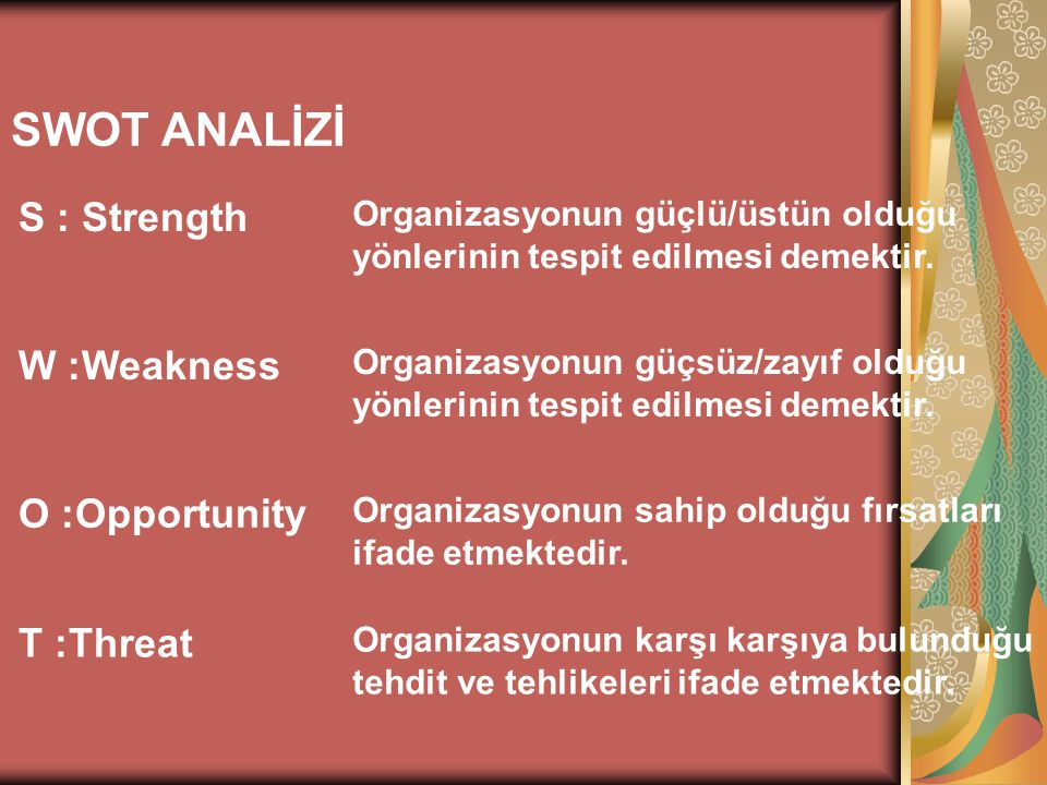 SWOT ANALİZİ S : Strength W :Weakness O :Opportunity T :Threat