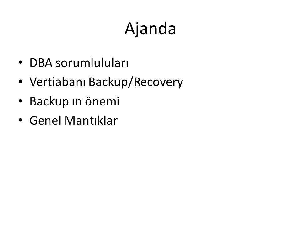 Ajanda DBA sorumluluları Vertiabanı Backup/Recovery Backup ın önemi