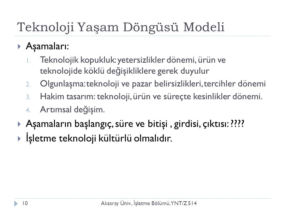 Teknoloji Yaşam Döngüsü Modeli