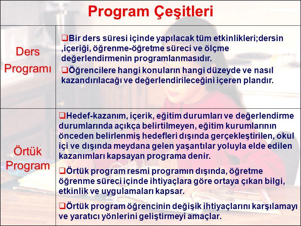 Program Çeşitleri Ders Programı Örtük Program