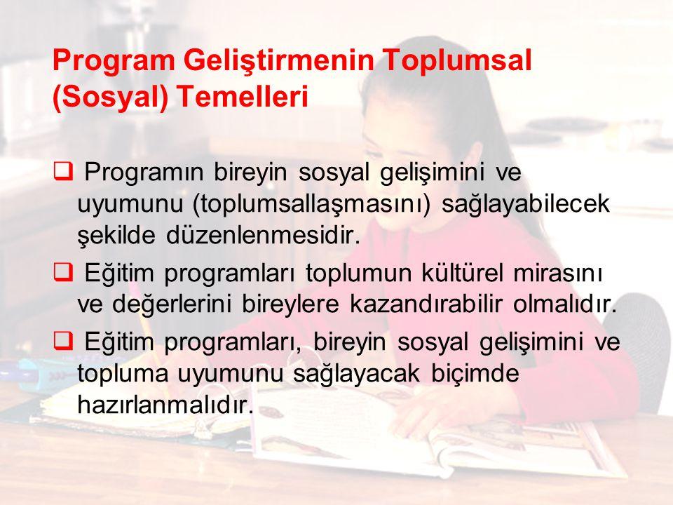 Program Geliştirmenin Toplumsal (Sosyal) Temelleri