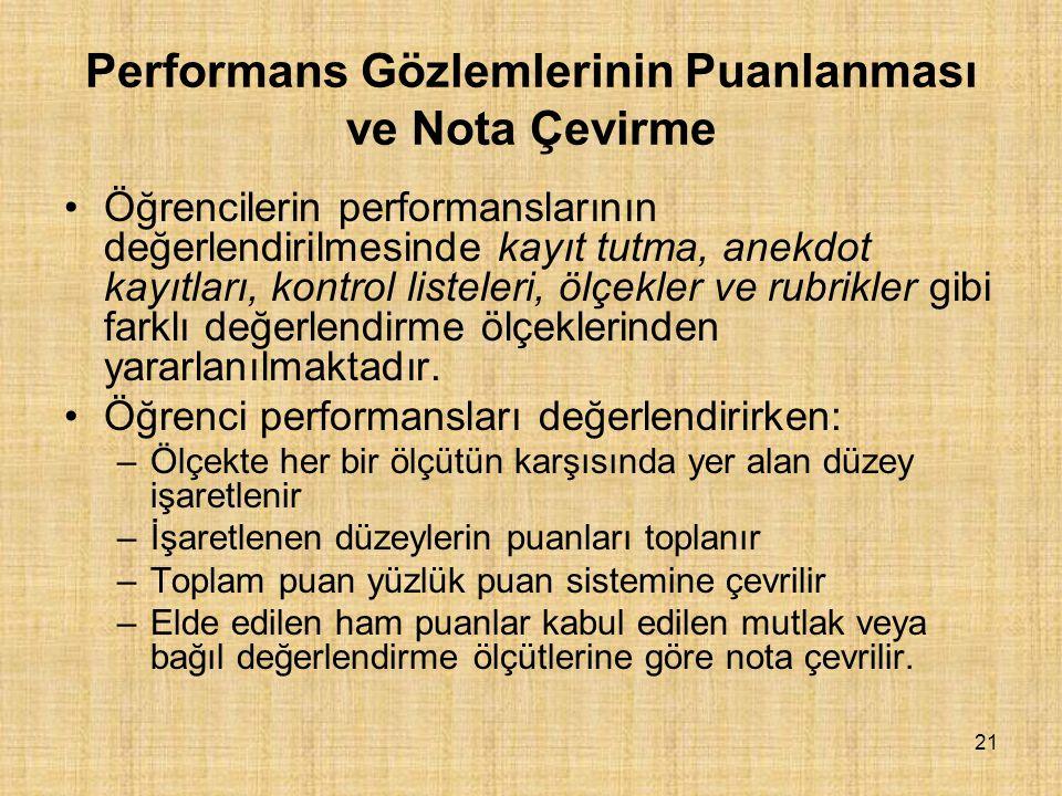Performans Gözlemlerinin Puanlanması ve Nota Çevirme