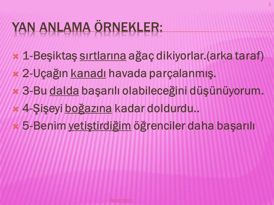 Yan anlama örnekler: 1-Beşiktaş sırtlarına ağaç dikiyorlar.(arka taraf) 2-Uçağın kanadı havada parçalanmış.