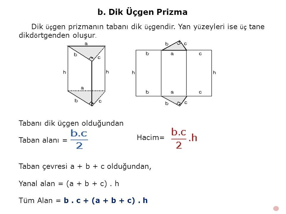b. Dik Üçgen Prizma Dik üçgen prizmanın tabanı dik üçgendir. Yan yüzeyleri ise üç tane dikdörtgenden oluşur.