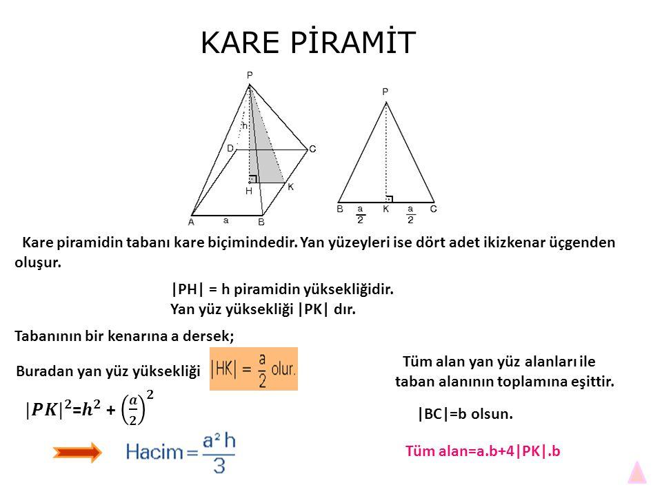 KARE PİRAMİT Kare piramidin tabanı kare biçimindedir. Yan yüzeyleri ise dört adet ikizkenar üçgenden oluşur.
