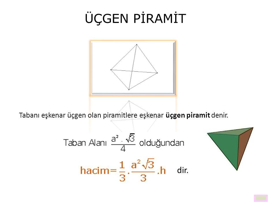 ÜÇGEN PİRAMİT Tabanı eşkenar üçgen olan piramitlere eşkenar üçgen piramit denir. dir.
