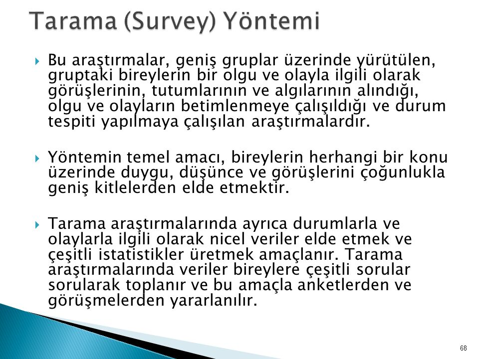 Tarama (Survey) Yöntemi
