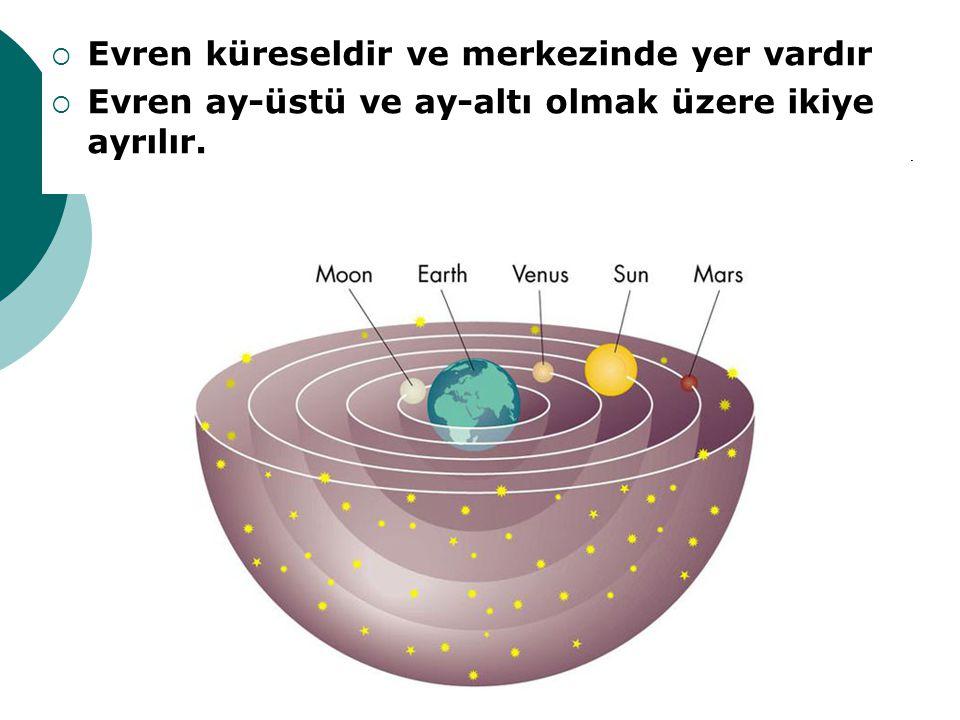 Evren küreseldir ve merkezinde yer vardır