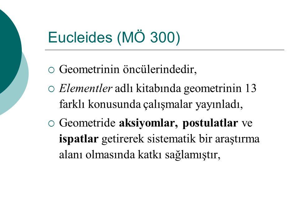 Eucleides (MÖ 300) Geometrinin öncülerindedir,