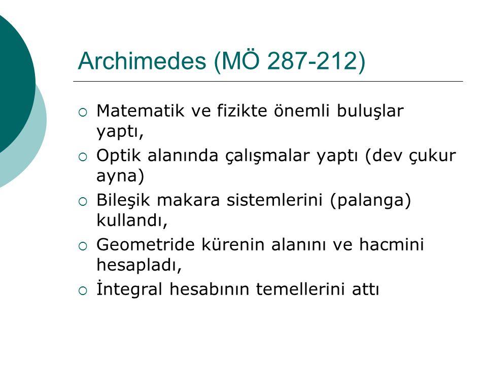 Archimedes (MÖ 287-212) Matematik ve fizikte önemli buluşlar yaptı,