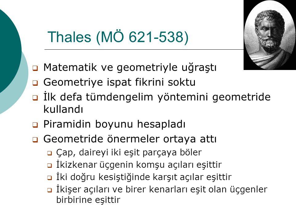 Thales (MÖ 621-538) Matematik ve geometriyle uğraştı