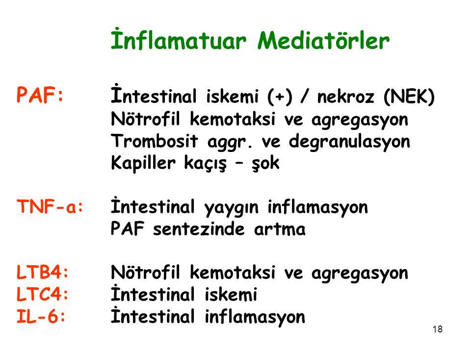 İnflamatuar Mediatörler PAF: İntestinal iskemi (+) / nekroz (NEK)