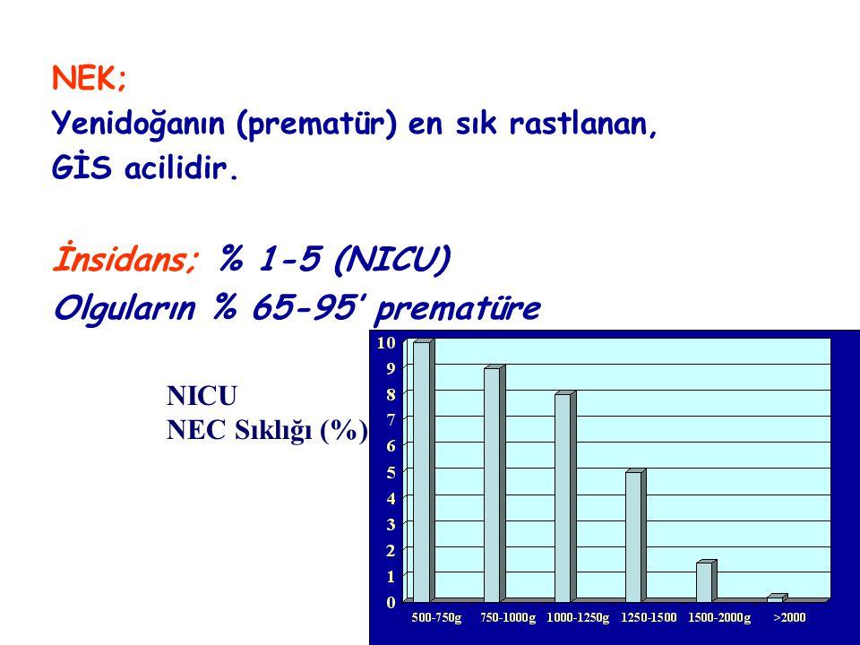 Olguların % 65-95' prematüre