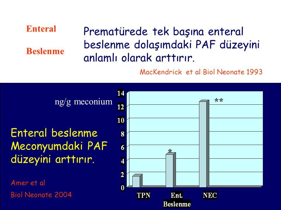 Prematürede tek başına enteral beslenme dolaşımdaki PAF düzeyini