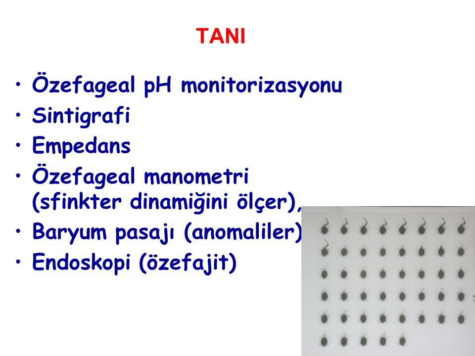 TANI Özefageal pH monitorizasyonu. Sintigrafi. Empedans. Özefageal manometri (sfinkter dinamiğini ölçer),