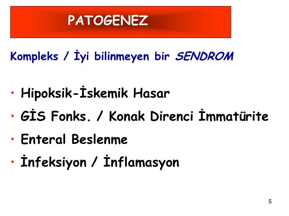 Hipoksik-İskemik Hasar GİS Fonks. / Konak Direnci İmmatürite