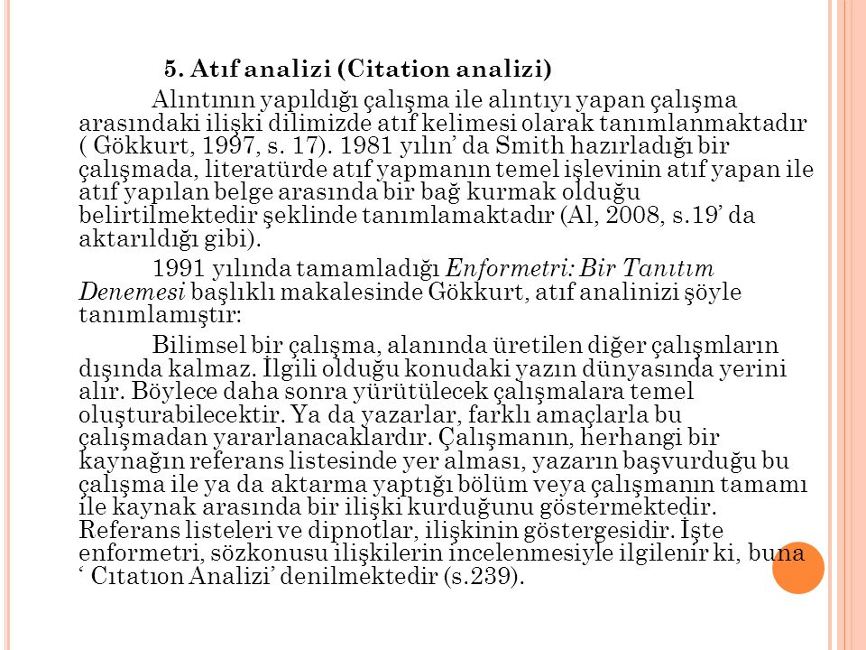 5. Atıf analizi (Citation analizi)