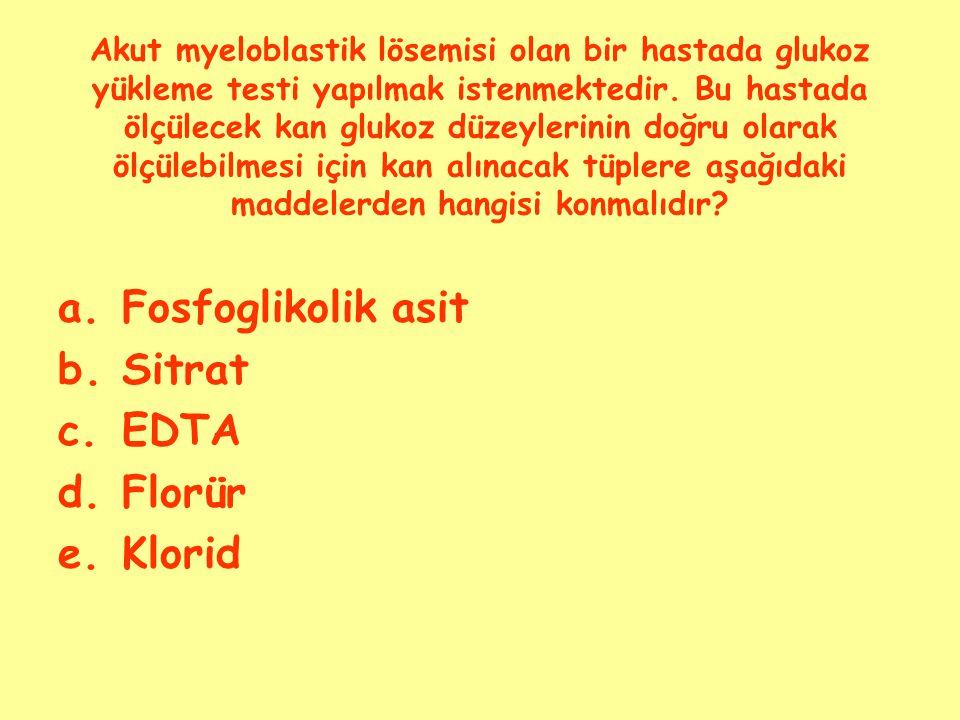 Fosfoglikolik asit Sitrat EDTA Florür Klorid