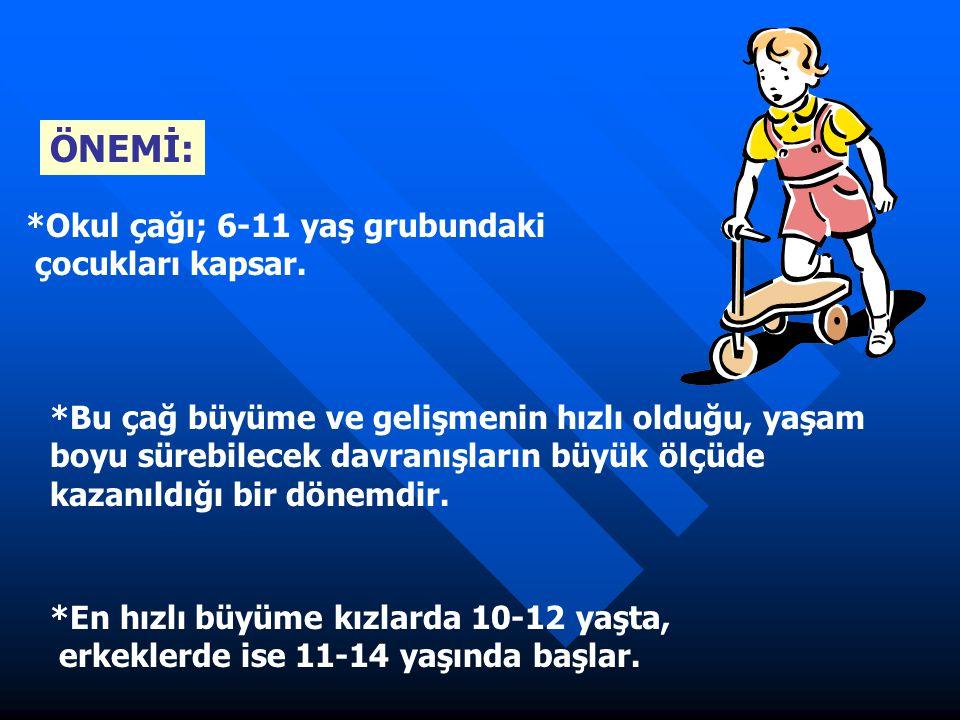 ÖNEMİ: *Okul çağı; 6-11 yaş grubundaki çocukları kapsar.