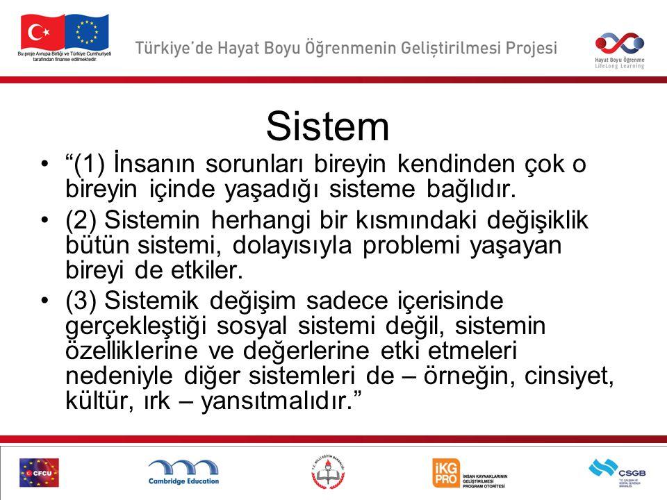 Sistem (1) İnsanın sorunları bireyin kendinden çok o bireyin içinde yaşadığı sisteme bağlıdır.