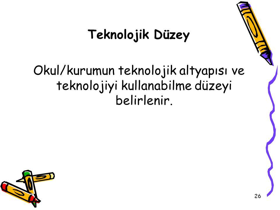 Teknolojik Düzey Okul/kurumun teknolojik altyapısı ve teknolojiyi kullanabilme düzeyi belirlenir.