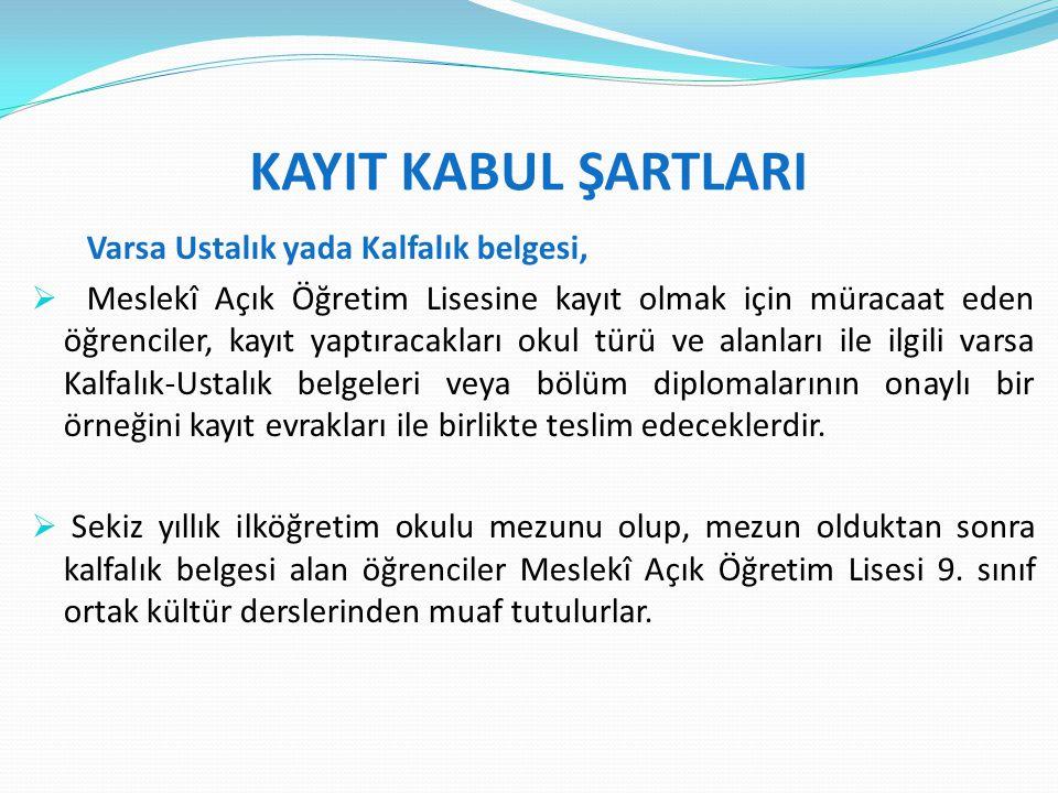 KAYIT KABUL ŞARTLARI Varsa Ustalık yada Kalfalık belgesi,