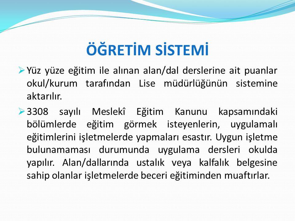 ÖĞRETİM SİSTEMİ Yüz yüze eğitim ile alınan alan/dal derslerine ait puanlar okul/kurum tarafından Lise müdürlüğünün sistemine aktarılır.