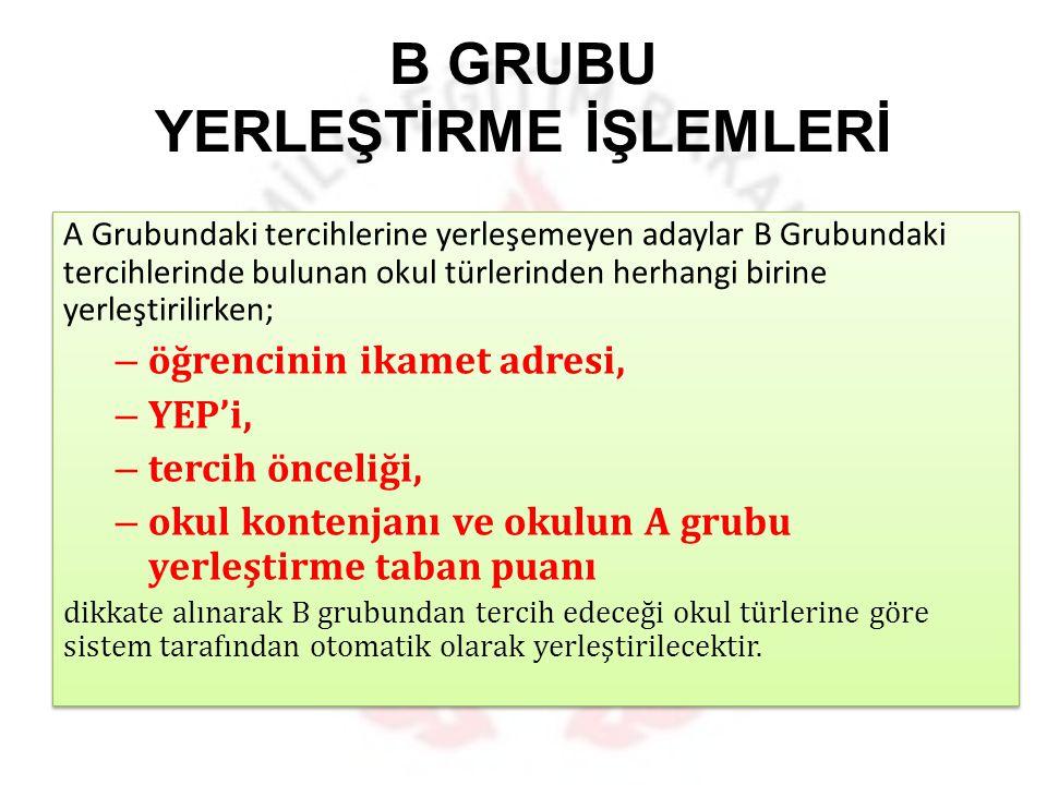B GRUBU YERLEŞTİRME İŞLEMLERİ
