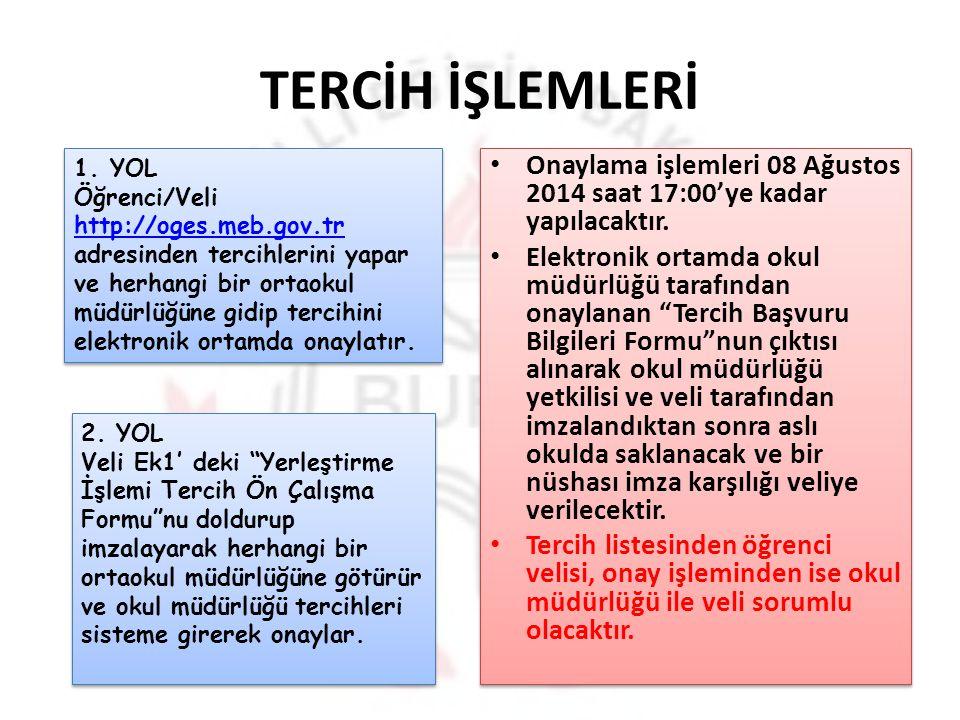 TERCİH İŞLEMLERİ YOL.