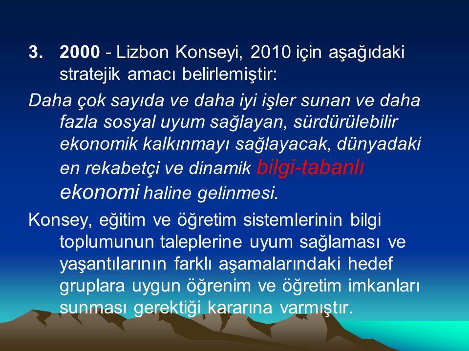 2000 - Lizbon Konseyi, 2010 için aşağıdaki stratejik amacı belirlemiştir: