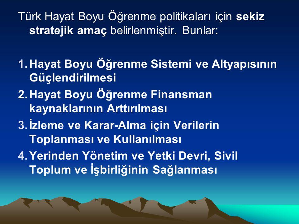 Türk Hayat Boyu Öğrenme politikaları için sekiz stratejik amaç belirlenmiştir. Bunlar: