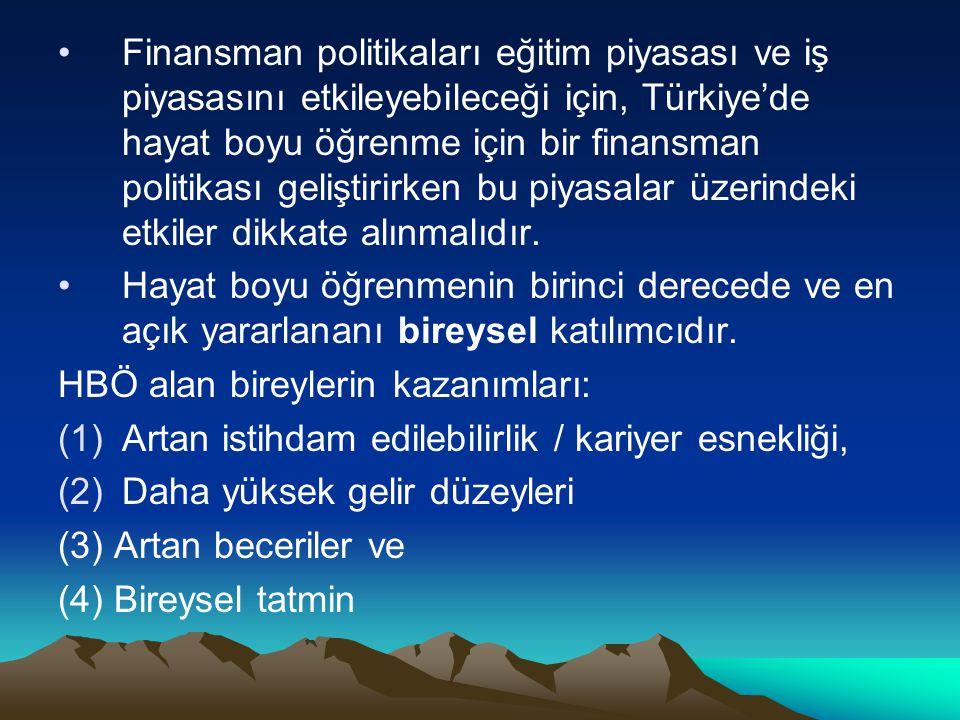 Finansman politikaları eğitim piyasası ve iş piyasasını etkileyebileceği için, Türkiye'de hayat boyu öğrenme için bir finansman politikası geliştirirken bu piyasalar üzerindeki etkiler dikkate alınmalıdır.