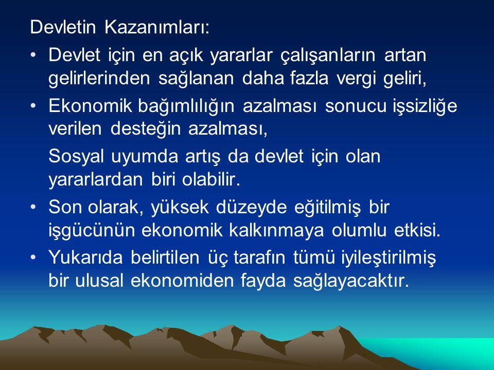 Devletin Kazanımları: