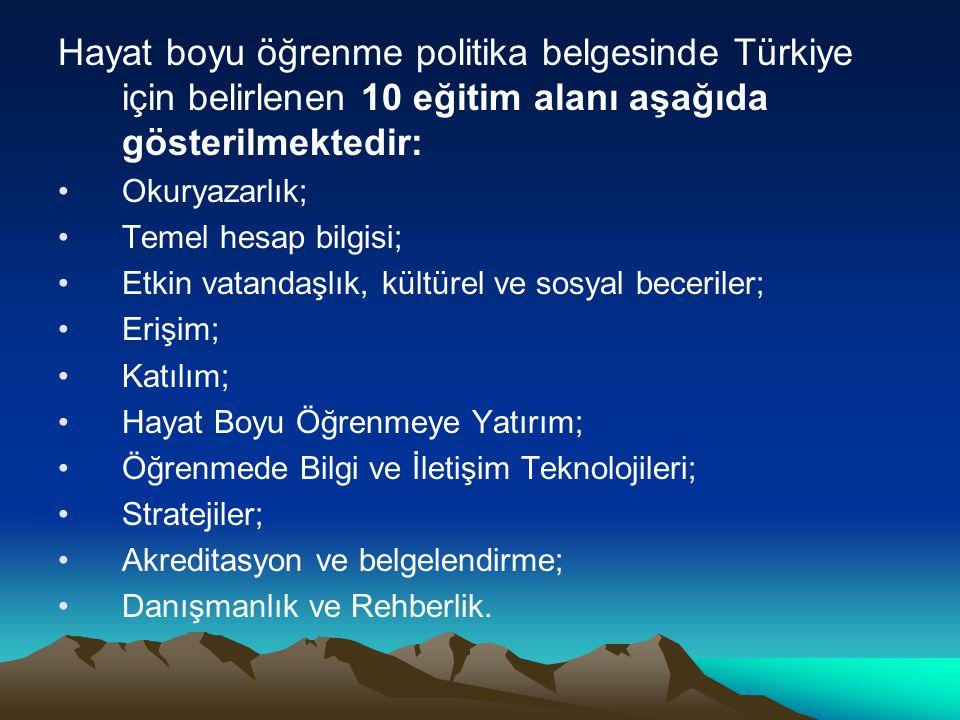Hayat boyu öğrenme politika belgesinde Türkiye için belirlenen 10 eğitim alanı aşağıda gösterilmektedir: