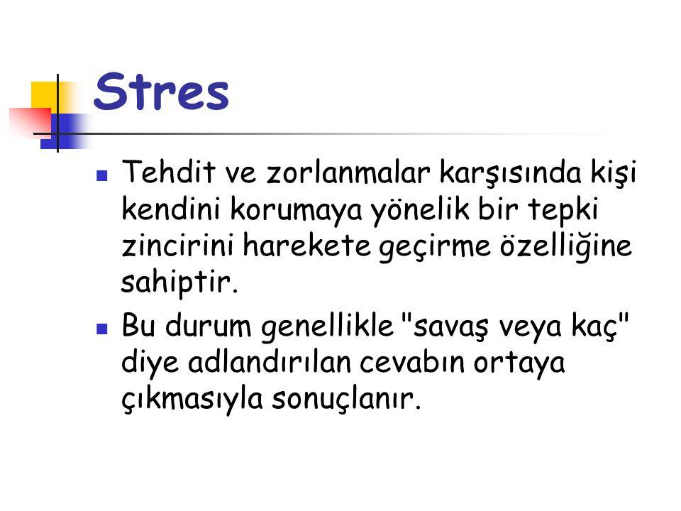 Stres Tehdit ve zorlanmalar karşısında kişi kendini korumaya yönelik bir tepki zincirini harekete geçirme özelliğine sahiptir.