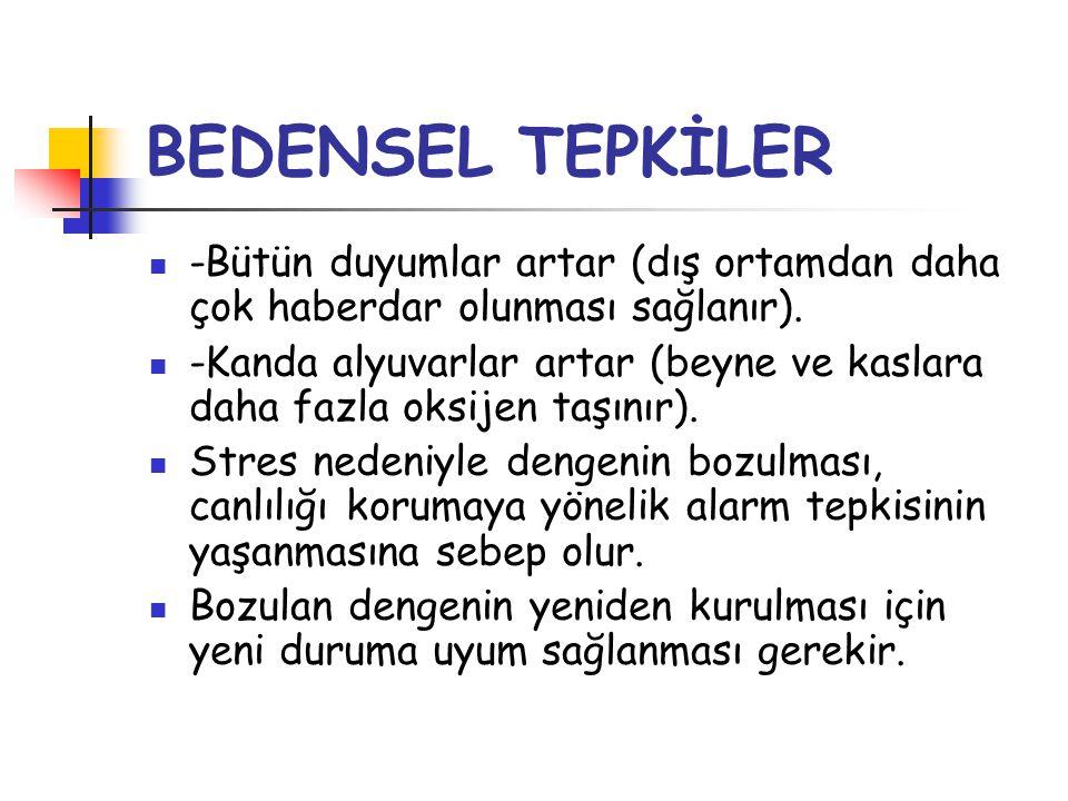 BEDENSEL TEPKİLER -Bütün duyumlar artar (dış ortamdan daha çok haberdar olunması sağlanır).