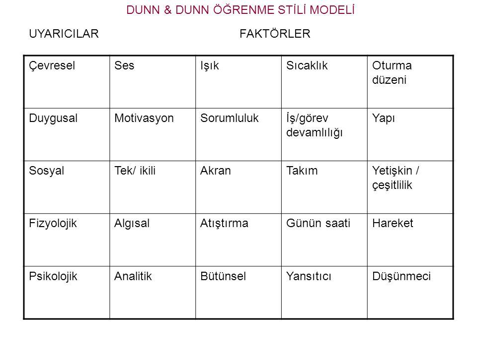 DUNN & DUNN ÖĞRENME STİLİ MODELİ