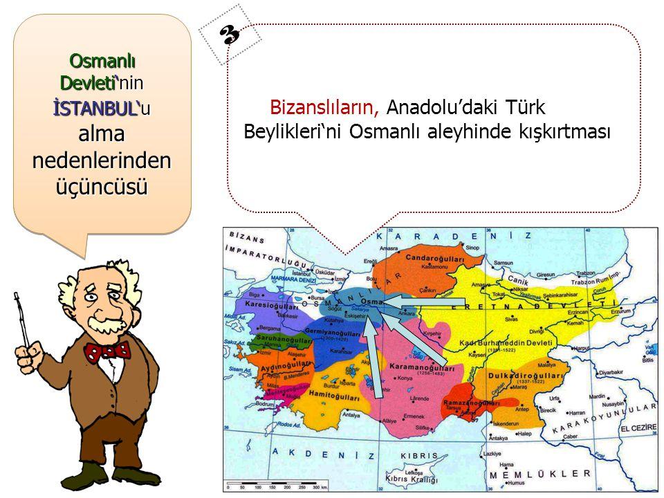 Osmanlı Devleti'nin İSTANBUL'u alma nedenlerinden üçüncüsü