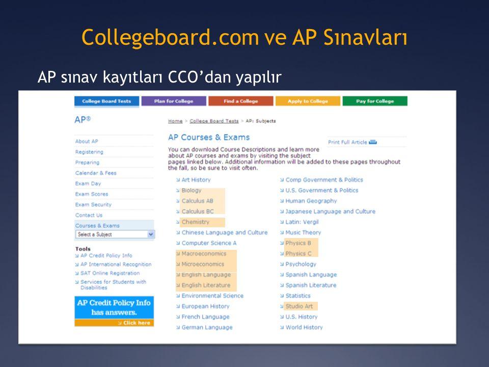 AP sınav kayıtları CCO'dan yapılır