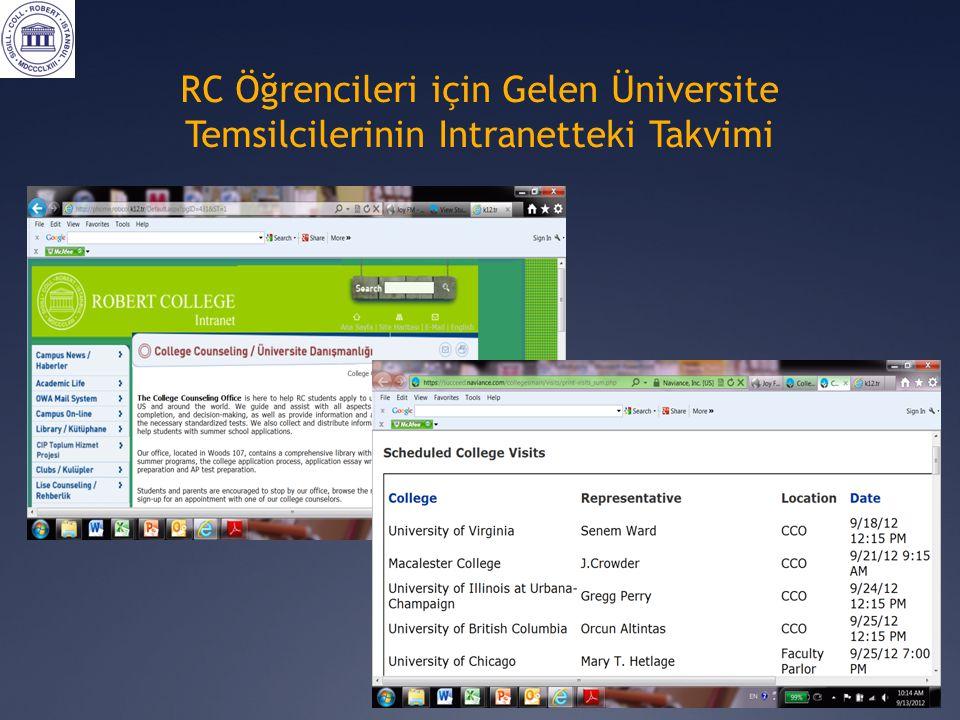 RC Öğrencileri için Gelen Üniversite Temsilcilerinin Intranetteki Takvimi