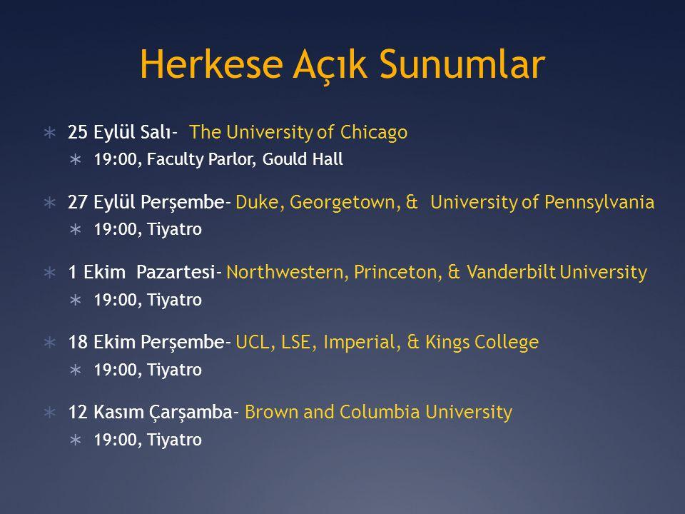 Herkese Açık Sunumlar 25 Eylül Salı- The University of Chicago