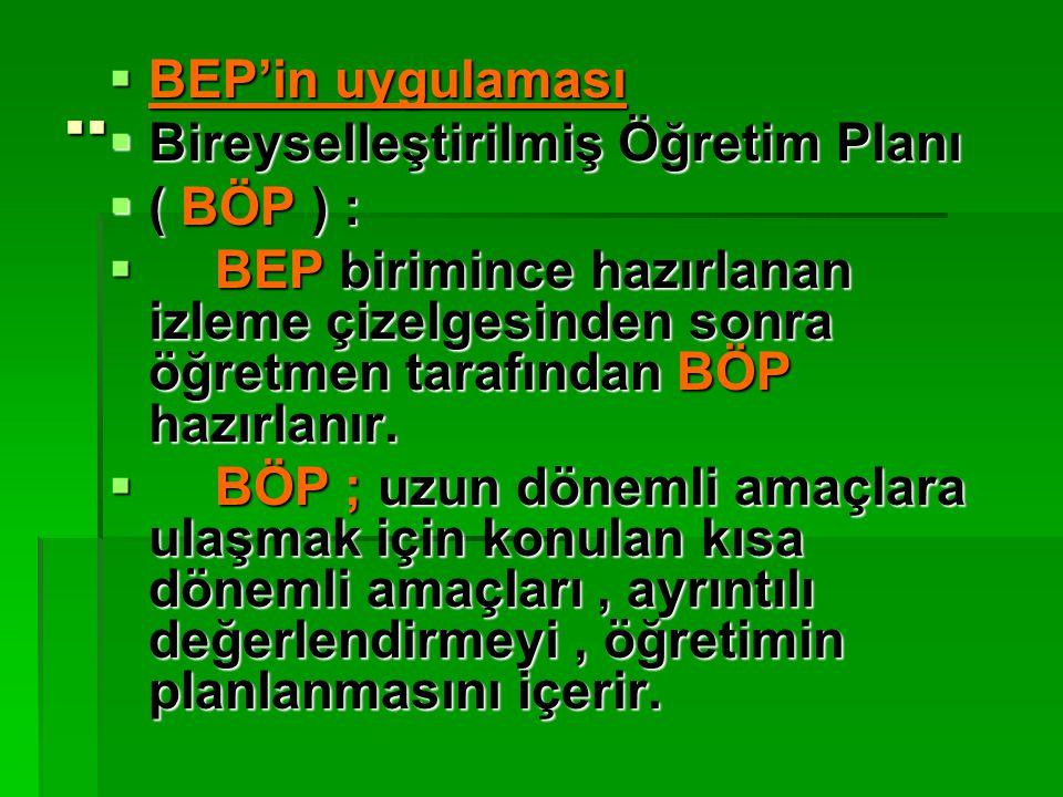 .. BEP'in uygulaması Bireyselleştirilmiş Öğretim Planı ( BÖP ) :
