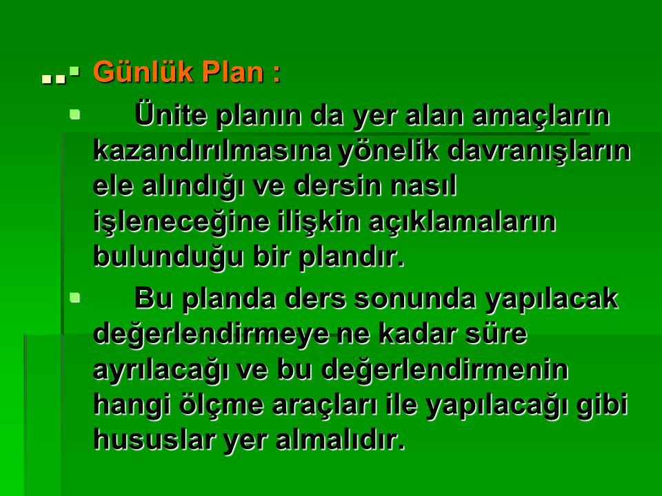 .. Günlük Plan :