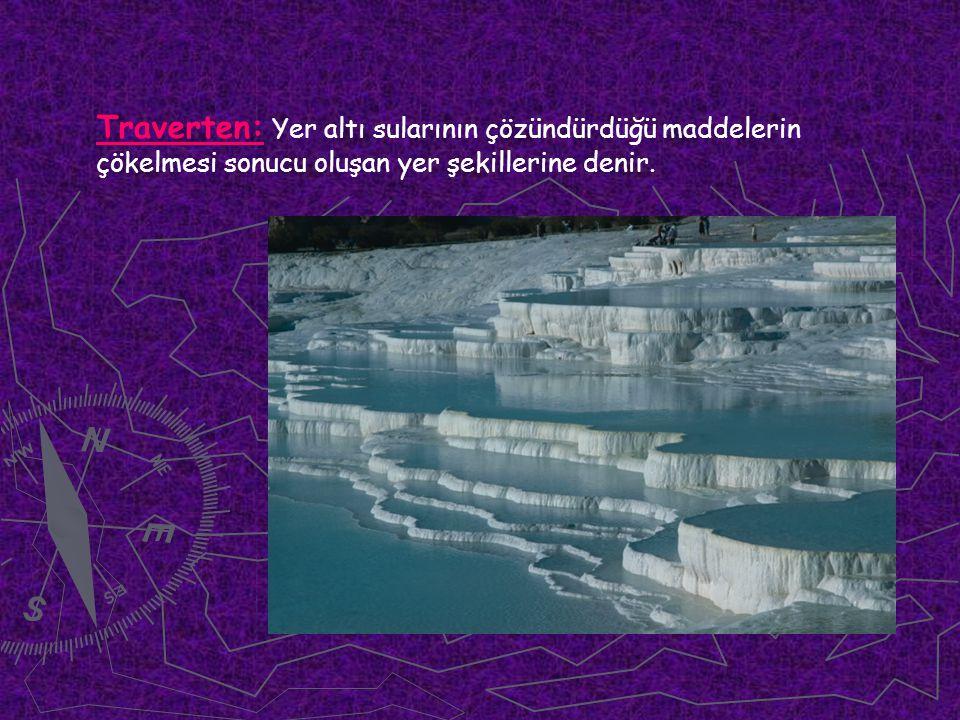 Traverten: Yer altı sularının çözündürdüğü maddelerin